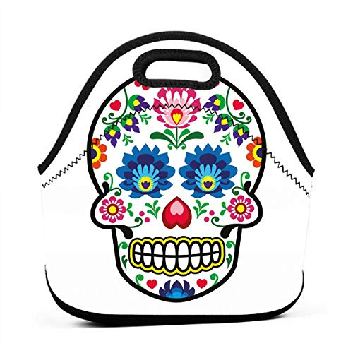Portable Lunch Bag Carry Case Tote Container Bags,Polish Folkloric Art Style Mexican Sugar Skull Design Ethnic Carnival Theme,Unisex Outdoor Travel Fashionable Handbag Pouch for Kids ()