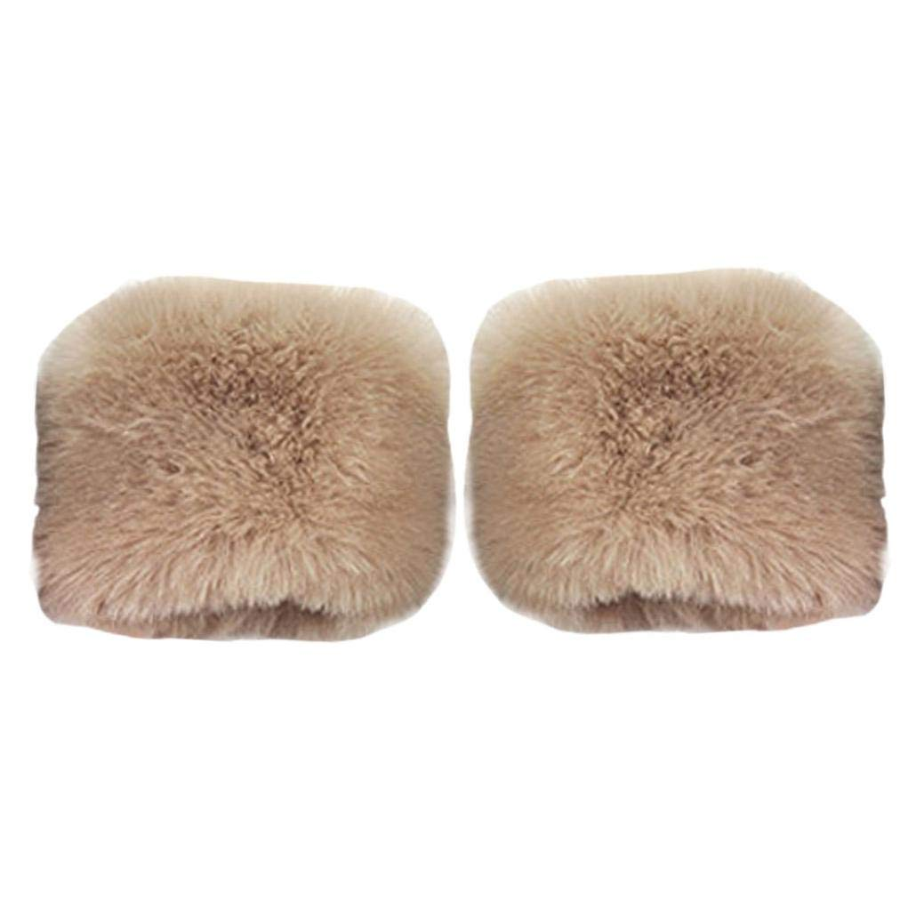 Luxurious Women Winter Warmers Cuffs Faux Rabbit Fur Sleeves Gloves Hanican (Khaki)