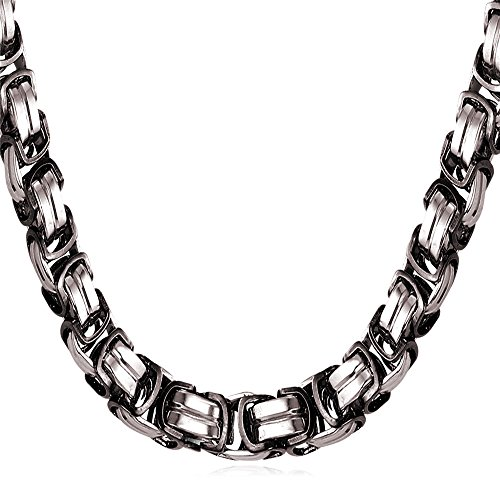 Men Big Heavy Solid Byzantine Chain 8MM Black Metal Plated Stainless Steel Chunky Necklace 22