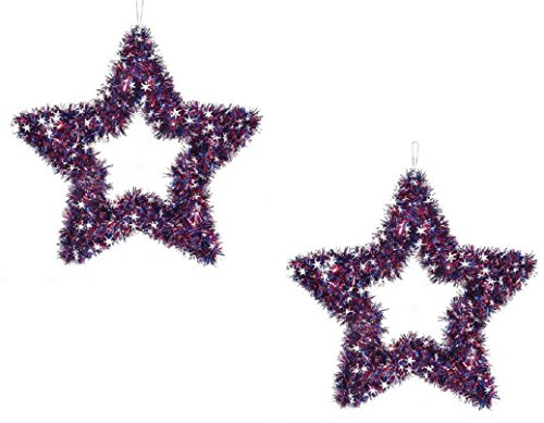 Darise Patriotic Decorations ~ 2 Americana Star Tinsel Wreaths - 4th of July Hanger ~ Red White And Silver Door Hanger 20 Inches