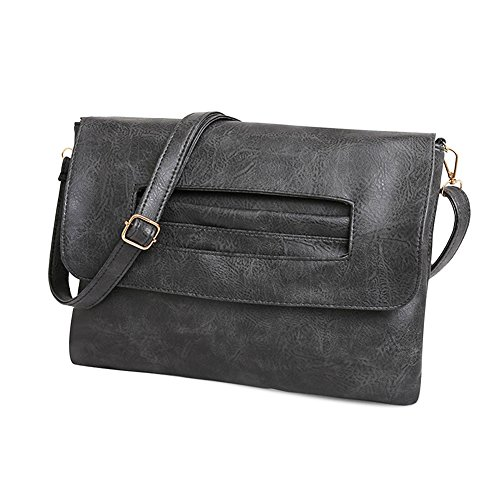 Large Shoulder Messenger Wallet Envelope Lightweight Leather Bags for Handbag Turelifes Wrist Clutch Bags Purses Grey Women Vintage Crossbody gqXnz8R