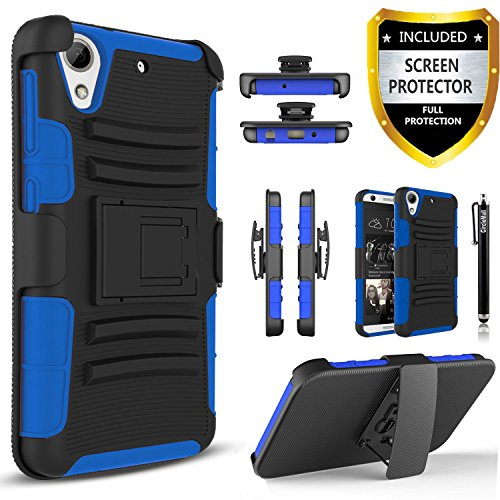 HTC Desire 626 Case Combo Rugged Shell Cover HolsterBuilt-in Kickstand and Holster Locking Belt Clip Blue + Circle(TM) Stylus Touch Screen Pen / HTC Desire 626 Case Combo Rugged Shell Cover HolsterBuilt-in Kickstand and Holster Loc...
