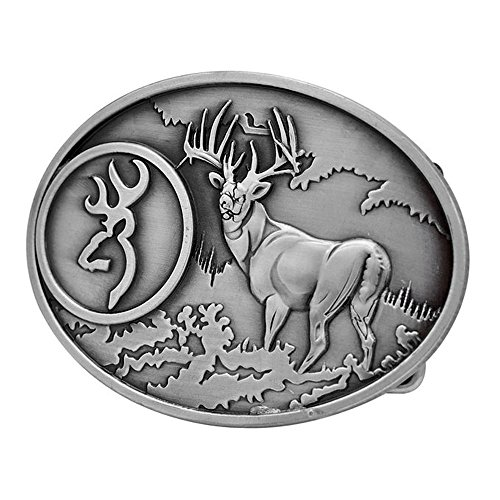 PANCY Buck Hunter Whitetail Deer Emblem Buckmark Belt Buckle (Deer Emblem)