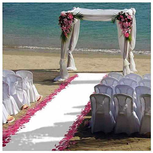 ShinyBeauty 4FTX15FT-Wedding Aisle Runner-White,Glitter Carpert Runner,Sequin Aisles Floor Runner,Wedding Ceremony Decor -