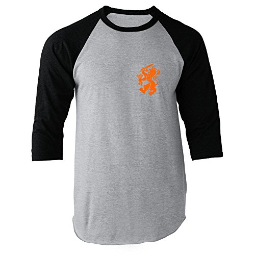 Pop Threads Dutch Soccer Retro National Team Black L Raglan Jersey T-Shirt