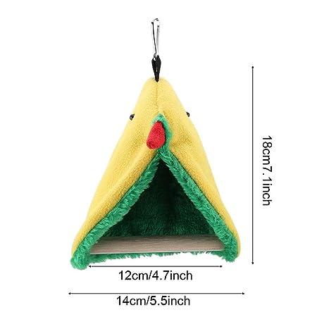Bicaquu Pájaro Loro Plush Triángulo de Madera Felpa Hamaca Jaula ...