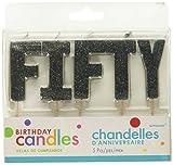 "Toys : ""F-I-F-T-Y"" Black Glitter Birthday Candles   Party Supply"