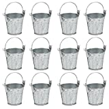 Juvale Mini Metal Buckets with Handles - 12-Pack Party Tin Pail Containers for Gifts, Candy, Party Favors, 1.5 Inches Tall