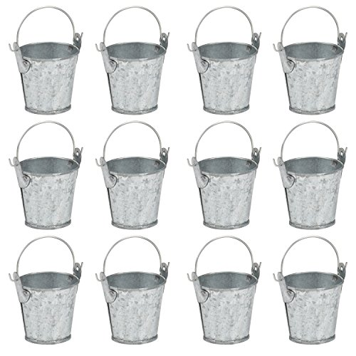 Mini Metal Buckets with Handles - 12-Pack Party Tin Pail Containers for Gifts, Candy, Party Favors, 1.5 Inches -