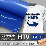 VVIVID+ Blue Premium Line Heat Transfer Vinyl Film for Cricut, Silhouette & Cameo (12'' x 1800'' (150ft) w/teflon sheet)