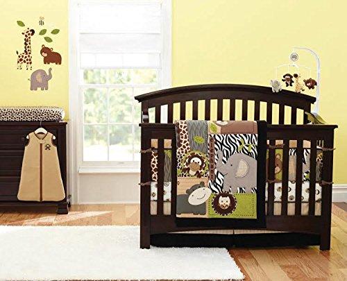 12 Pcs Designer Crib Bedding Nursery Set.JUNGLE SAFARI, Bumper included