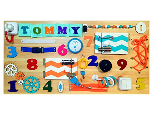 Personalized Busy Board - Educational Activity Toy For Toddlers - Montessori Sensory Game For Boys And Girls - Wooden Kids Toy - Locks And Latches Game - Children's Fine Motor Skills Development by CyrillicShop