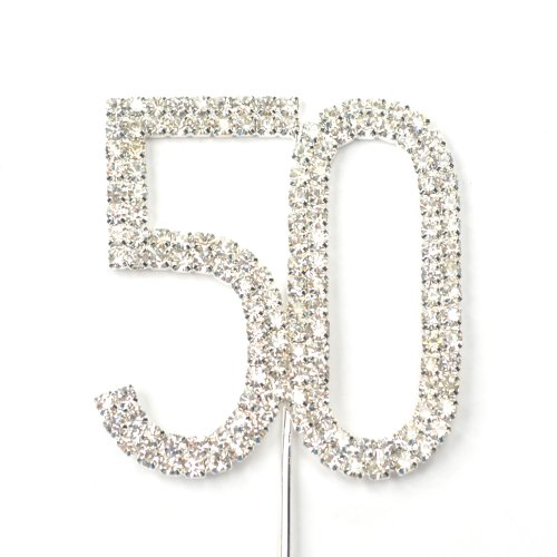 Cosmos Rhinestone Crystal Silver Number 50 Birthday 50th Anniversary Cake Topper