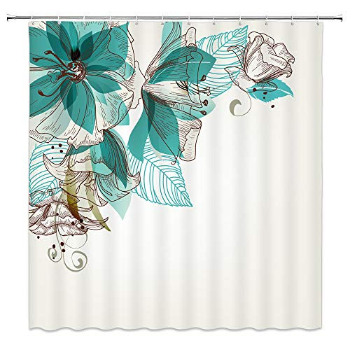 WZFashion Turquoise Shower Curtain Set, Flowers Buds Leaf at The Top Left Corner Retro Art Festive Season Celebrating Theme, Bathroom Accessories, with Hooks, Teal Brown ... (Blue Retro Shower Curtain)