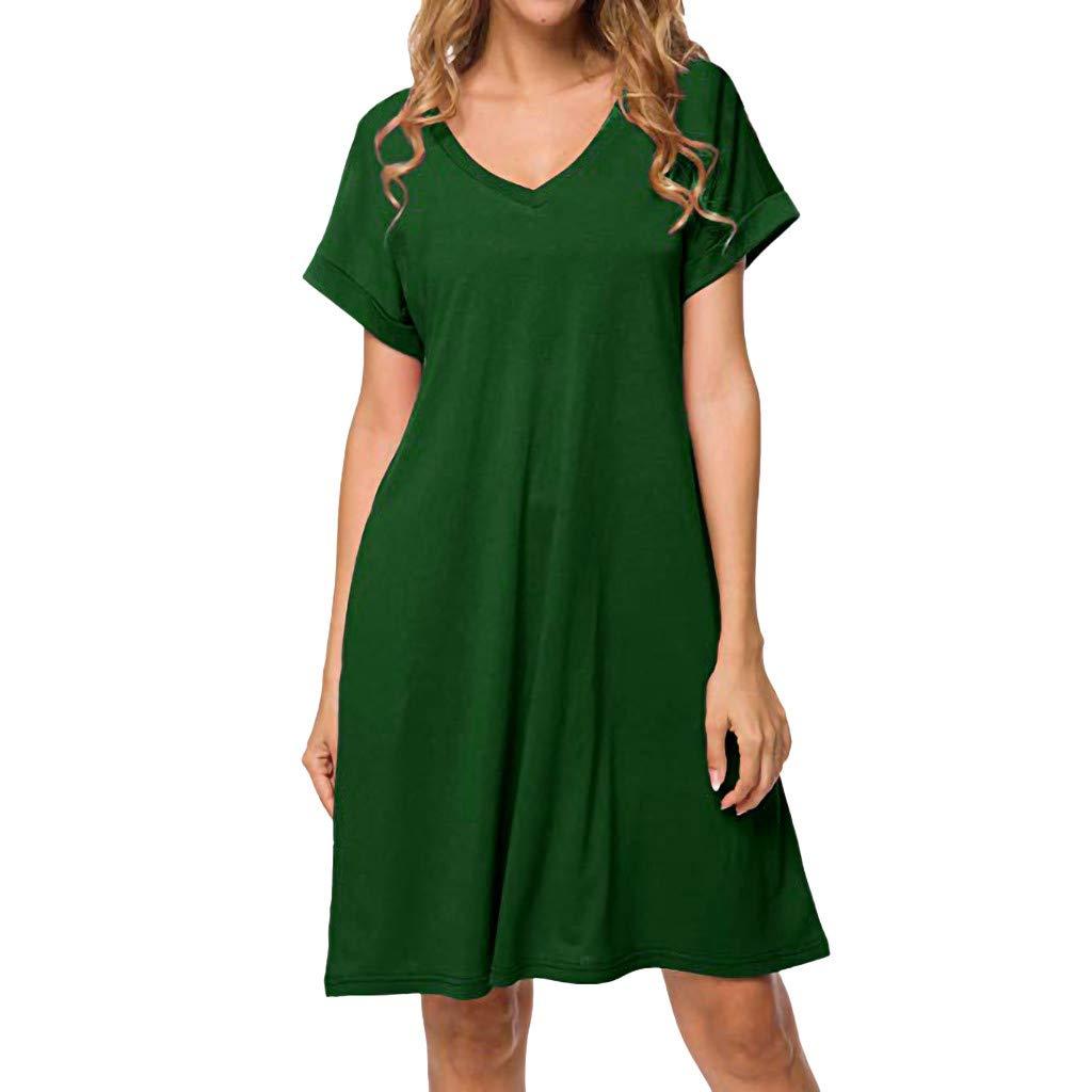 Ximandi Womens Summer Solid V Neck Short Sleeve Pockets Casual Puffy T Shirt Midi Dress