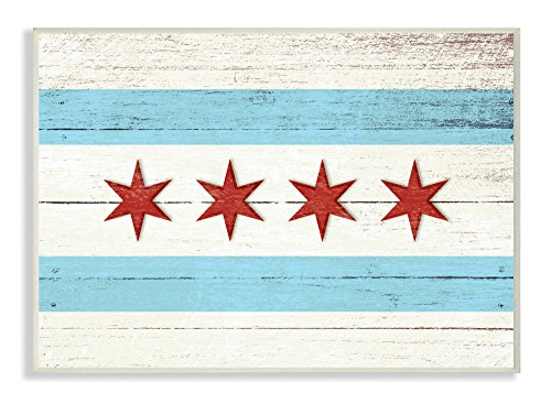 The Stupell Home Decor Collection Chicago Flag Distressed Wood Look Wall Plaque Art, 10 x 15