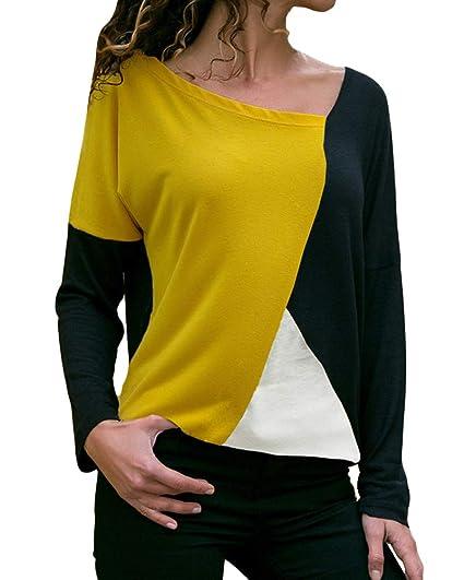 Minetom Mujer Camiseta Otoño Ocasionales Manga Largas Camisa Moda Chic Bloque de Color Blusa Elegante T