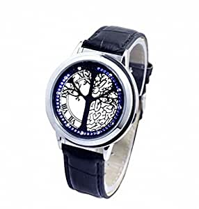 Spwatches Stainless Steel Material Elegant Design Blue Hybrid Touch Screen LED Watch,COME WITH FREE KEYCHAIN High Class Design, Leather Band, Support Touchscreen by Spwatches