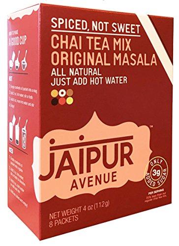 Jaipur Avenue Chai Tea Mix Masala - SPICED, NOT SWEET - 70% Less Sugar (8-Count - Chai Sugar