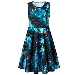 BFUSTYLE Cute Galaxy Nebula Star Dress for Girls 7-16 Fashoin Little Girls Crew-Neck Tunic Skater Playwear Dress Chic Sleeveless Starry Sky Princess Dresses in Summer (L Galaxy Blue)
