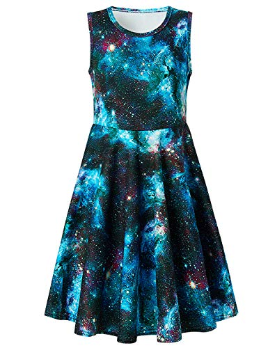 Uideazone Girls Blue Galaxy Summer Sleeveless Tank Dress for Casual School Beach Holiday -
