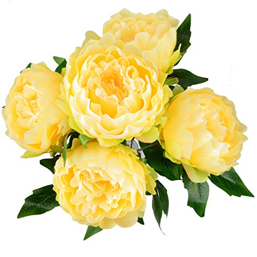 (HoveBeaty Artificial Peony Silk Flowers Bouquet Home Wedding Decoration (Light Yellow))