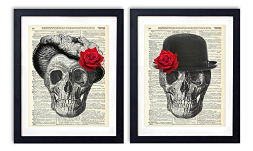 Skull Couple - Til' Death Due Us Part, 2 Print Set, Vintage Upcycled Dictionary Art Prints - (2) 8x10 inches each, Unframed