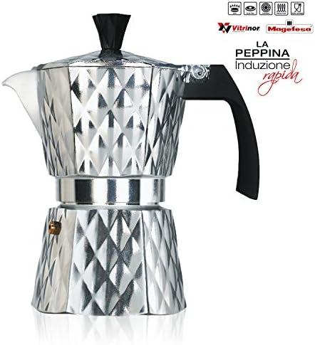 Vitrinor Peppina - Cafetera Italiana de aluminio rápida, diseño, 6 tazas café, inducción, apta para todas las cocinas, 2 juntas de cierre silicona, válvula de seguridad: Amazon.es: Electrónica