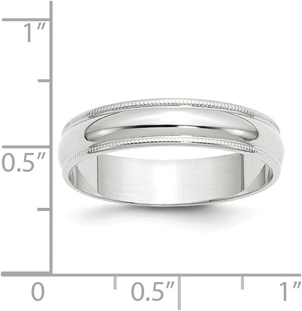 10k White Gold 5mm LTW Milgrain Half Round Band Fine Jewelry Ideal Gifts For Women