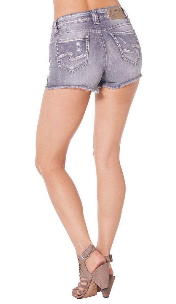 Silver Jeans Women's Aiko Midrise Rise Denim Short, Grey, 29