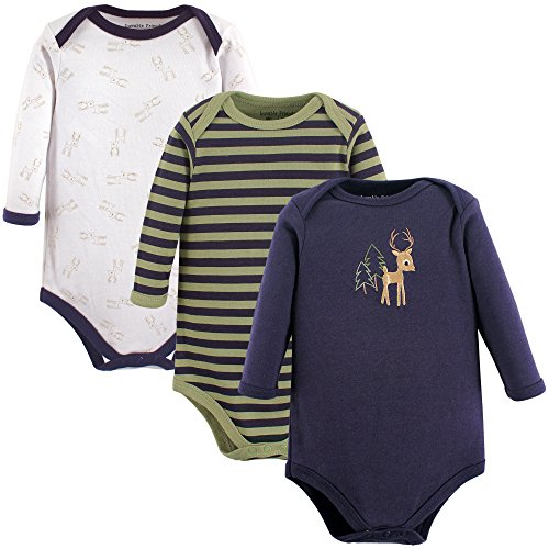 Luvable Friends Unisex Baby Long Sleeve Cotton Bodysuits, Deer 3-Pack, 9-12 Months (12M)