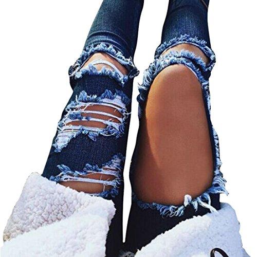 Oeak Longue Noir Bleu Taille Femme Skinny Jean Trou Basse rwPrBq