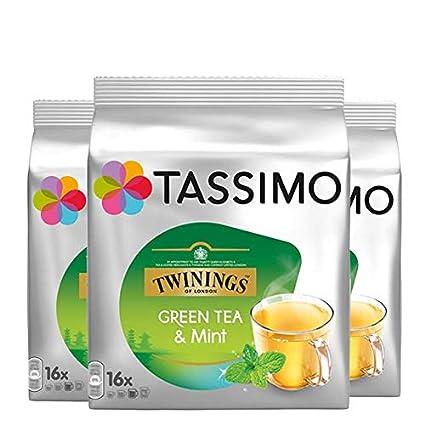 Bosch Tassimo Twinings Menta Té Verde 16 T Disc Cápsulas Máquina Café (Paquete