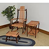 A&L FURNITURE CO. 7-Slat Hickory Rocking Chair with Foot Stool and End Table Set