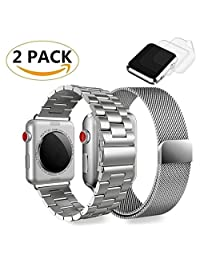 (2 Pack) Apple Watch Band 42mm Milanese Loop Stainless Steel, GP iWatch Metal Bands Bracelet for 42mm Apple Watch Series 3, 2,1, Sports & Edition, W/2 Screen Protectors