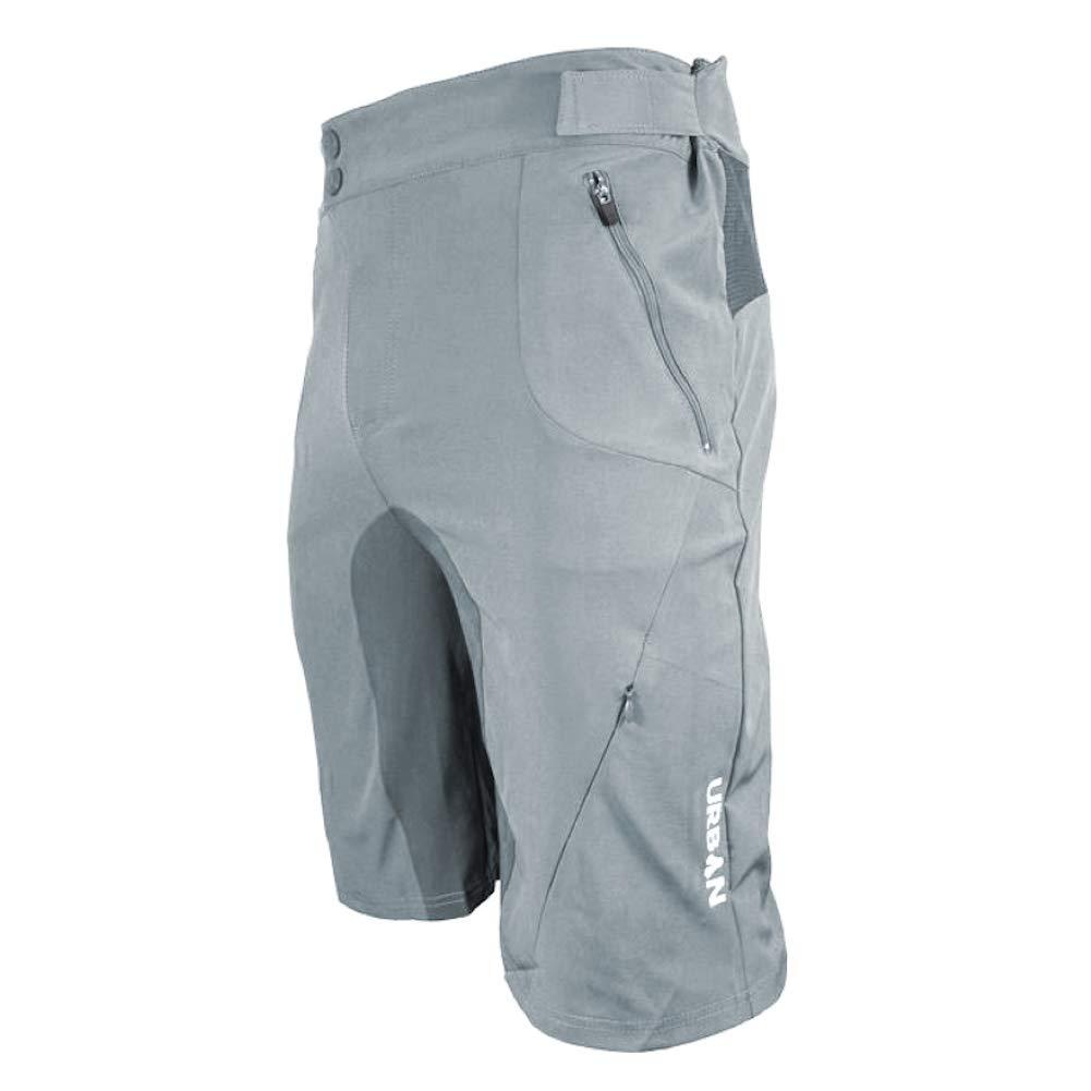 Urban Cycling Apparel Flex MTB Trail Shorts - Soft Shell Mountain Bike Shorts with Zip Pockets and Vents (Medium (32''-34''), Gray, No Liner)