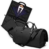 V-Vitoria Carry On Garment Bag Travel & Business Suit Bag with Shoulder Strap Duffel Weekender Bag with Shoe Pouch(Black)