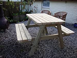 HEAVY DUTY 6FT (180CM) GARDEN BENCH PUB PICNIC TABLE, HAND-MADE WITH PRESSURE TREATED TIMBER. VARIOUS SIZES AVAILABLE