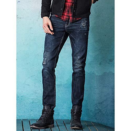 Moda Da Dritti Alla 31 Yiwuhu Jeans dimensione Uomo Slim Aderenti Inverno Casual Strappati nvZ1A