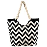 High Quality Zippered Chevron Prints Rope Handle Large Roomy Canvas Tote Beach Bag For Sale
