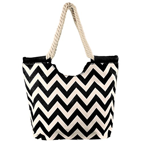 High Quality Zippered Chevron Prints Rope Handle Large Roomy Canvas Tote Beach Bag