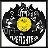 VinylshopUS - Firefighters Vinyl Wall Art with Framed Unique Art Design Gift for Office Room   Fire Fighting Theme Modern Home Decorative