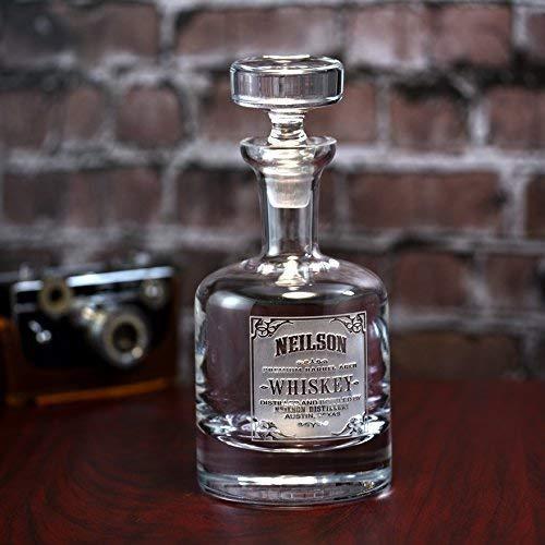 Engraved Decanter for Whiskey, Scotch, Bourbon, Custom Brand Label