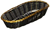 "Tablecraft (917B) 9"" Oblong Black Vinyl Basket w/Gold Metal Trim [Set of 12]"