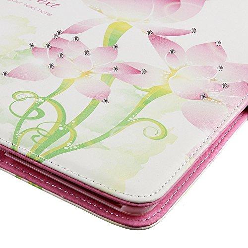 MACOOL Cubierta del iPad caja de la flor de la mariposa de hadas Aire incrustaciones Chica del brillo del diamante de Bling diamantes de imitación estilo libro animado protector de cierre magnético PU 02HUA
