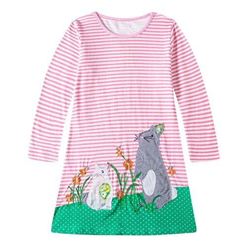 69646c865 Huata Little Girls Long Sleeve Casual Dresses 100% Cotton