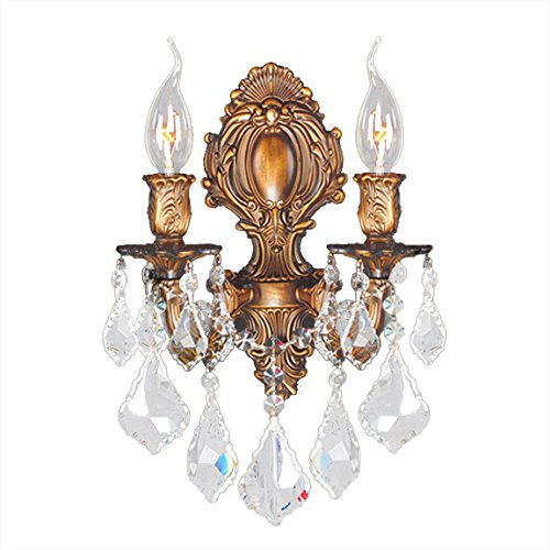 Versailles Light 2 Sconce (Worldwide Lighting Versailles Collection 2 Light French Gold Finish Crystal Candle Wall Sconce 12