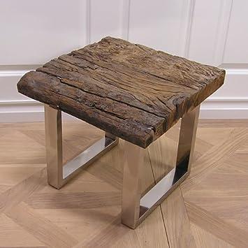 Schwemmholz Treibholz Tisch Beistelltisch Möbel Chrom Rustikal
