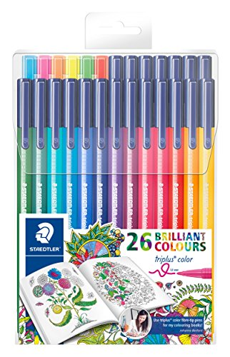 Staedtler 26 Triplus Fiber-Tip Color Pens for Adults - Johanna Basford Adult Coloring Edition - 5 Felt Pens