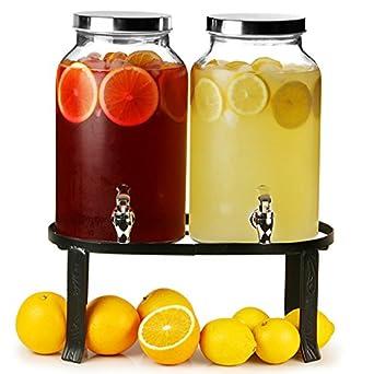 bar@drinkstuff - Dispensador de bebidas doble estilo jarra Mason con soporte, 10 l, para zumos, cócteles, etc.: Amazon.es: Industria, empresas y ciencia